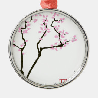 lucky sakura and pink goldfish, tony fernandes metal ornament