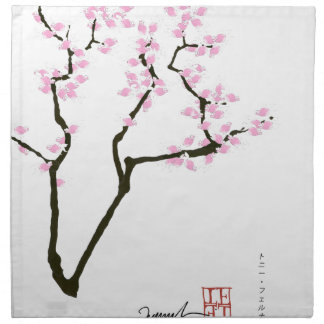 lucky sakura and pink goldfish, tony fernandes napkin