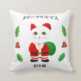 Lucky Santa Cat Throw Pillow