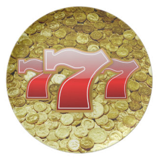 lucky seven and coins plate