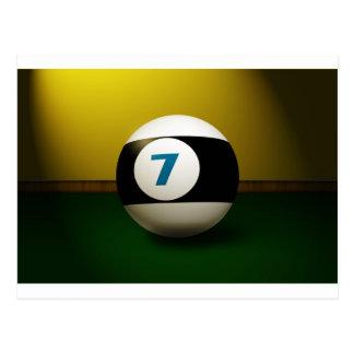 Lucky Seven Billiard Ball Postcard