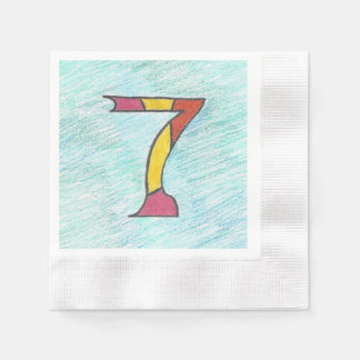 Lucky Seven on Cool Blues Set of Napkins
