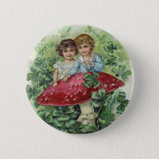 Lucky shamrock badge 2 inch round button