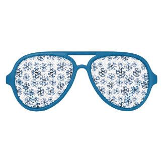 Lucky Shamrock Clover Blue Aviator Sunglasses