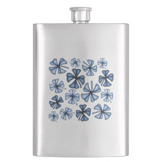 Lucky Shamrock Clover Blue Hip Flask