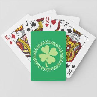 Lucky shamrock clover dot border St Patricks day Poker Deck