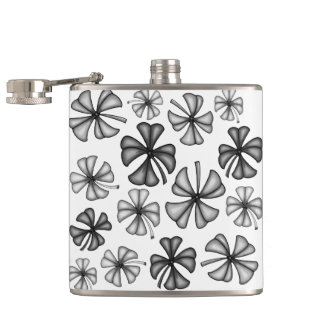 Lucky Shamrock Clover Grey Hip Flask