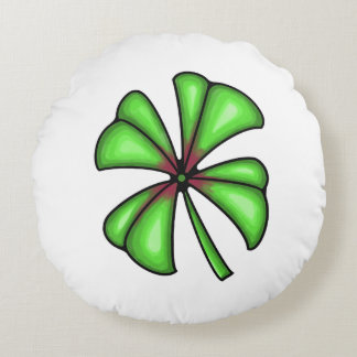 Lucky Shamrock Clover Round Pillow