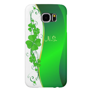 Lucky Shamrock gold  faux glitter wave Samsung Galaxy S6 Cases