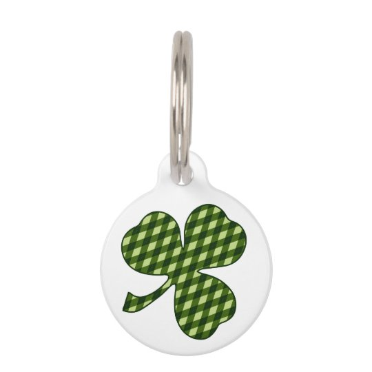 Lucky Shamrock in Green Argyle Diamond Plaid Pet Tag