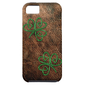Lucky shamrock on genuine leather iPhone 5 cover