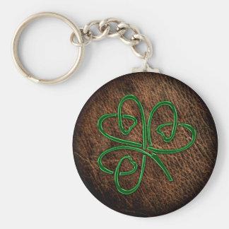 Lucky shamrock on leather texture basic round button keychain