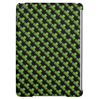 Lucky Shamrock Pattern, Black and Green Cover For iPad Air