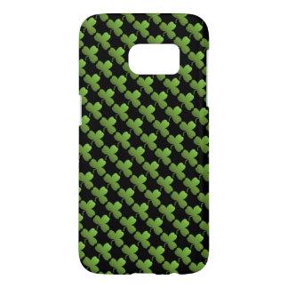 Lucky Shamrock Pattern, Black and Green Samsung Galaxy S7 Case