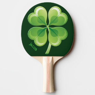Lucky Shamrock Ping Pong Paddle