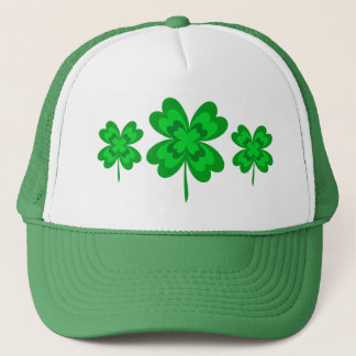 Lucky Shamrocks Four Leaf Clovers St. Patricks Day Trucker Hat