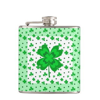Lucky Shamrocks Green and White St. Patrick's Day Hip Flask