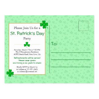 Lucky Shamrocks St. Patrick's Day Party Invite Postcard