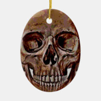 Lucky Skull Ceramic Oval Ornament