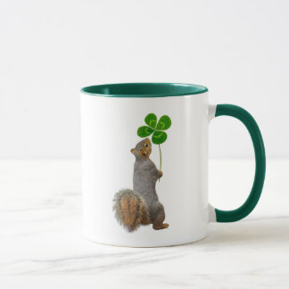 Lucky Squirrel with a Four Leaf Clover Mug