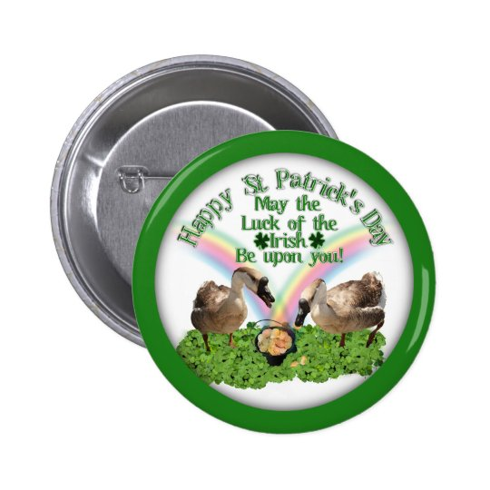 Lucky St. Patrick's Day Geese 2 Inch Round Button