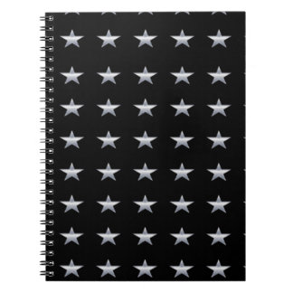 Lucky Stars Black With Silver Stars Design Notebook