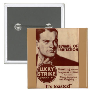 Lucky Strikes - Beware of Irritation 2 Inch Square Button