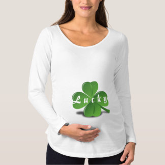 """Lucky"" Text Expecting Shamrock St. Patrick's Day Maternity T-Shirt"
