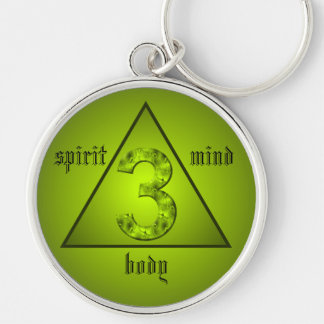 Lucky Three Green Triangle Mind Body Spirit Silver-Colored Round Keychain