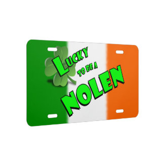 Lucky to be a Nolen Irish Shamrock License Plate