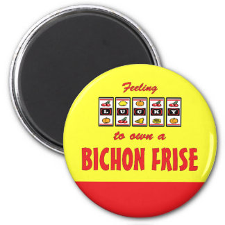 Lucky to Own a Bichon Frise Fun Dog Design 2 Inch Round Magnet