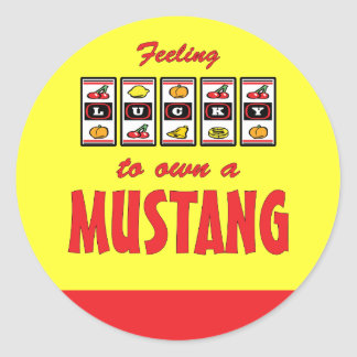 Lucky to Own a Mustang Fun Horse Design Classic Round Sticker