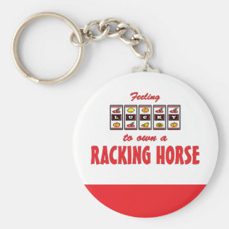 Lucky to Own a Racking Horse Fun Design Basic Round Button Keychain