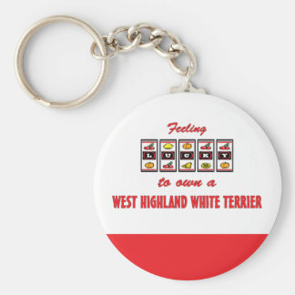 Lucky to Own a West Highland White Terrier Basic Round Button Keychain