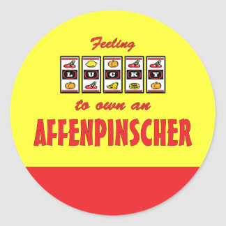 Lucky to Own an Affenpinscher Fun Dog Design Round Sticker
