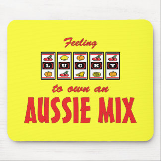 Lucky to Own an Aussie Mix Fun Dog Design Mouse Pad