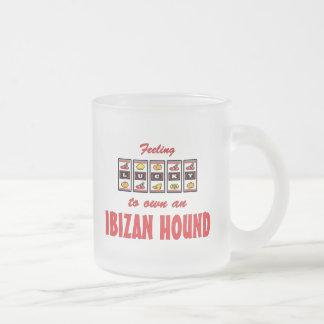 Lucky to Own an Ibizan Hound Fun Dog Design Frosted Glass Coffee Mug