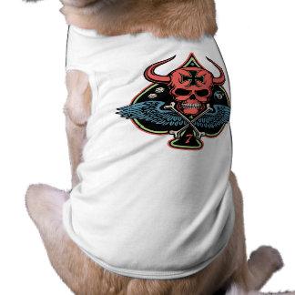 Lucky Winged Maltese Devil Skull of Spades Dog T Shirt