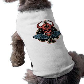 Lucky Winged Maltese Devil Skull of Spades Doggie Shirt