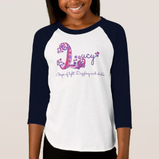 Lucy girls L name meaning monogram tee