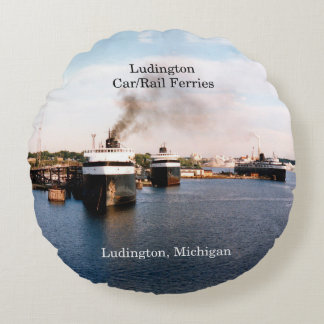 Ludington Car/Rail Ferries round pillow