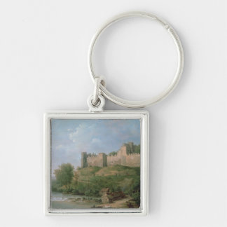 Ludlow Castle Silver-Colored Square Keychain