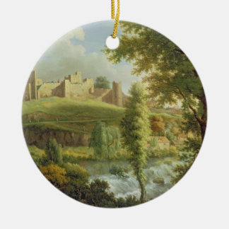 Ludlow Castle with Dinham Weir, from the South-Wes Round Ceramic Ornament