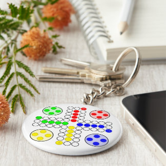 Ludo Classic Board Game Basic Round Button Keychain