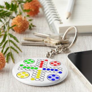 Ludo Classic Board Game Basic Round Button Keychain