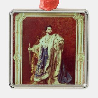 Ludwig II  1887 Silver-Colored Square Ornament