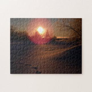 Lueur de lever de soleil puzzle avec photo
