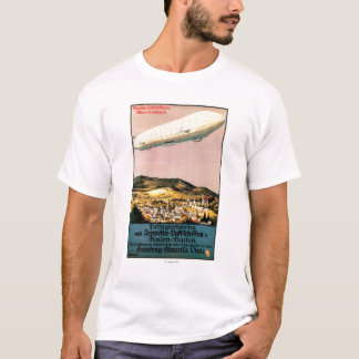 Luftschiff Zeppelin Airship over Town Poster T-Shirt