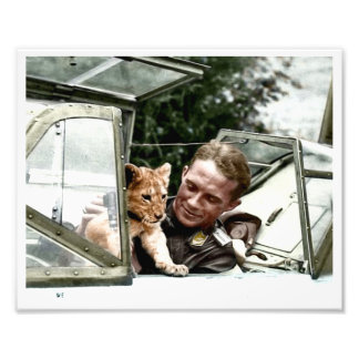 Luftwaffe Ace Franz von Werra and Simba Photo Print
