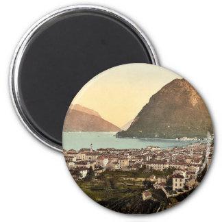 Lugano, general view, Tessin, Switzerland vintage Magnet